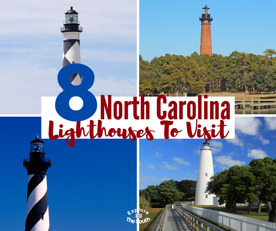 8 North Carolina Lighthouses You Can Visit. Climb all but one of these east coast light houses. Rich history dating back to the late 1700's and how the Civil War affected some of the East Coast lighthouses. #lighthouse #lighthouses #explorethesouth #southeasternustravel