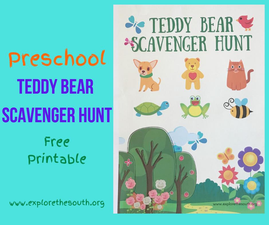 Preschool Teddy Bear Scavenger Hunt Printable #scavengerhunt #preschoolprintable