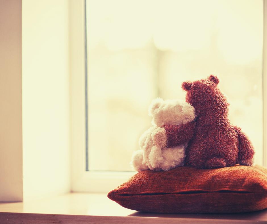 Teddy bears in a window