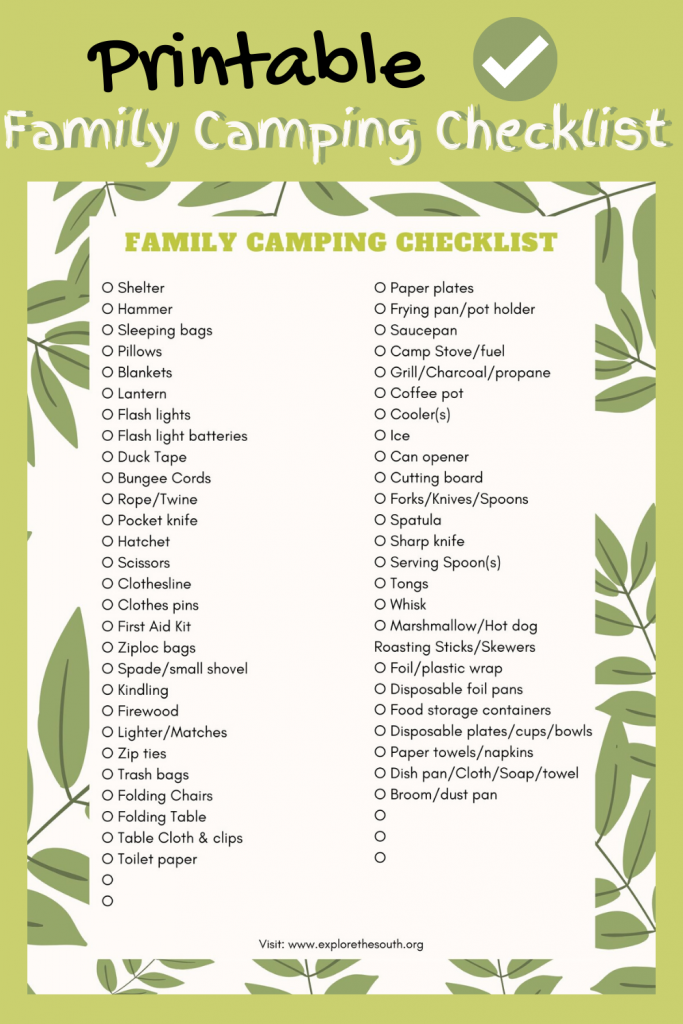 Picture of a camping checklist which can be printed